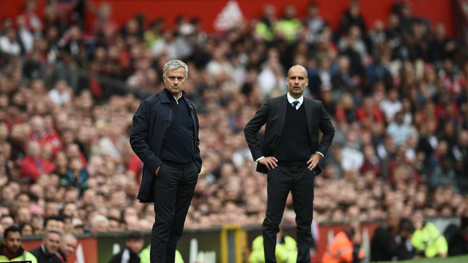 Manchester United's Portuguese manager Jose Mourinho (L) and Manchester City's Spanish manager Pep Guardiola (R) will resume hostilities in the Premier League at the Etihad Stadium on Thursday evening.