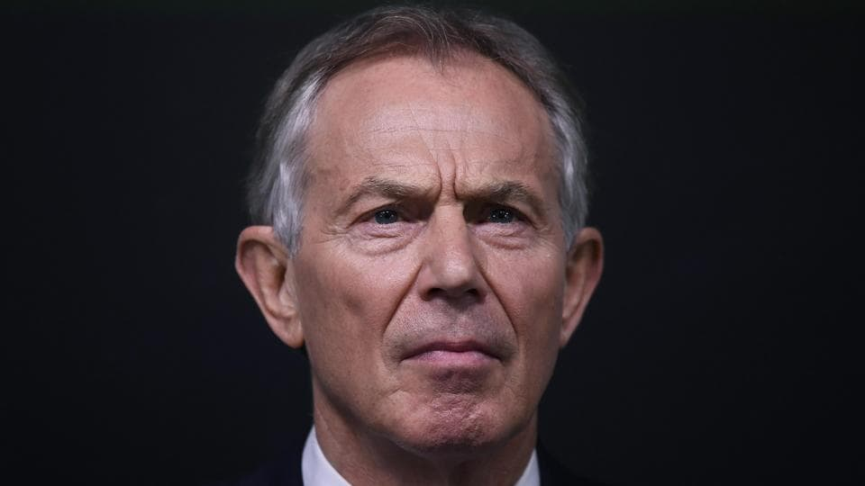 File photo of former British prime minister Tony Blair delivering a speech at a pro-Europe event in London in February 2017.