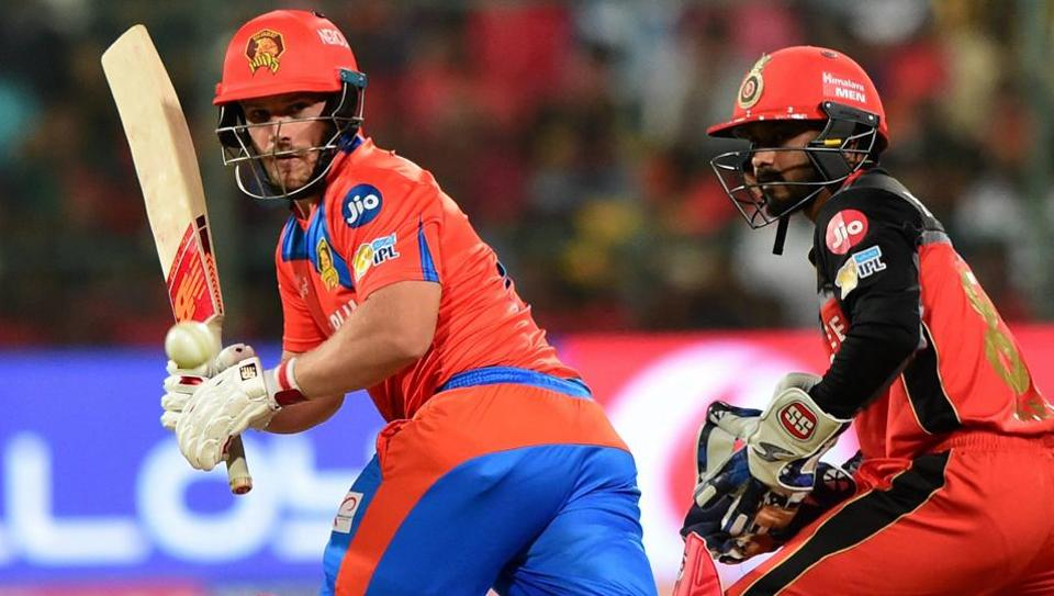 Gujarat Lions batsman Aaron Finch plays a shot during the IPL 2017 match against Royal Challengers Bangalore at the Chinnaswamy Stadium in Bengaluru on Thursday.