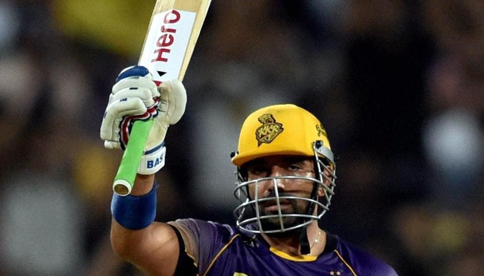 Robin Uthappa of Kolkata Knight Riders (KKR) acknowledges the crowd after completing his half century during the 2017 Indian Premier League (IPL) match Rising Pune Supergiant (RPS) in Pune on Wednesday. Uthappa shared a match-winning 158-run partnership with skipper Gautam Gambhir in the clash.