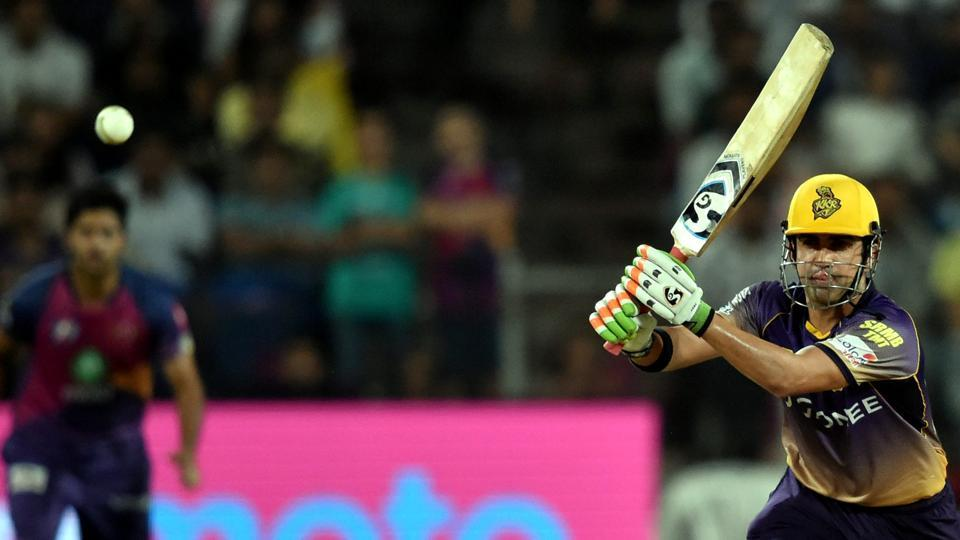 Kolkata Knight Riders (KKR) skipper Gautam Gambhir during his innings of 62 against Rising Pune Supergiant (RPS) in the 2017 Indian Premier League in Pune on Wednesday.