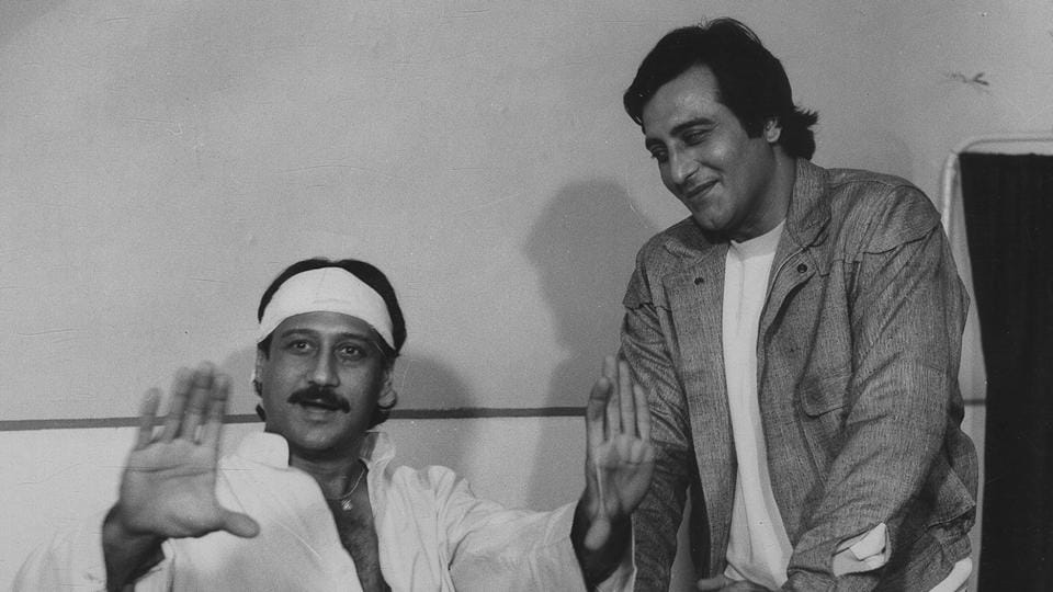 Jackie Shroff and Vinod Khanna in Aakhri Adaalat. (HT Photo)
