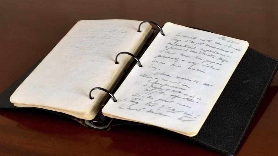 This undated file photo provided by RR Auction shows a portion of a diary written in 1945 by a young John F Kennedy during his brief stint as a journalist after World War II.