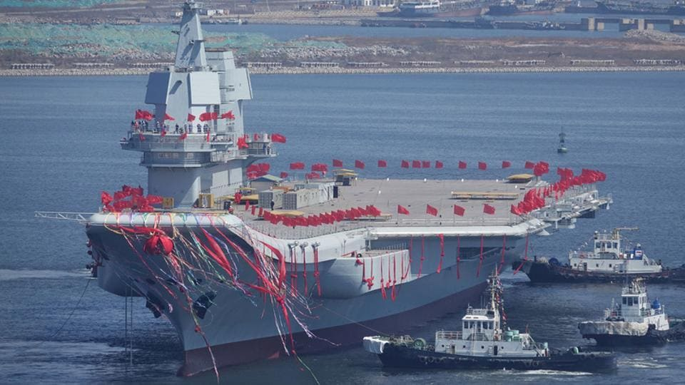 China's first domestically built aircraft carrier is seen during its launching ceremony in Dalian, Liaoning province.