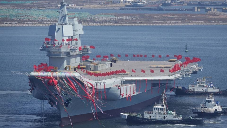 China's first domestically built aircraft carrier is seen during its launching ceremony in Dalian, Liaoning province, China.