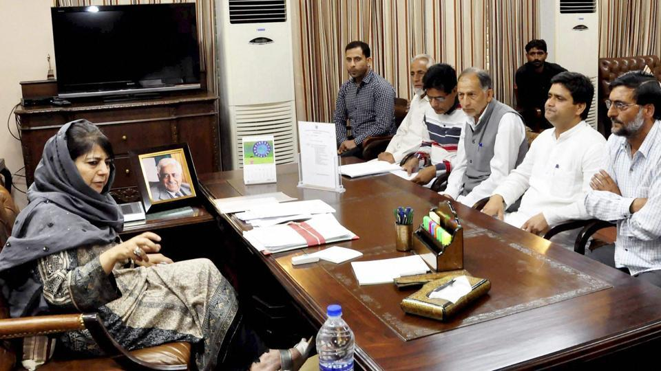 Jammu and Kashmir chief minister Mehbooba Mufti meets with a delegation in Jammu on April 26.