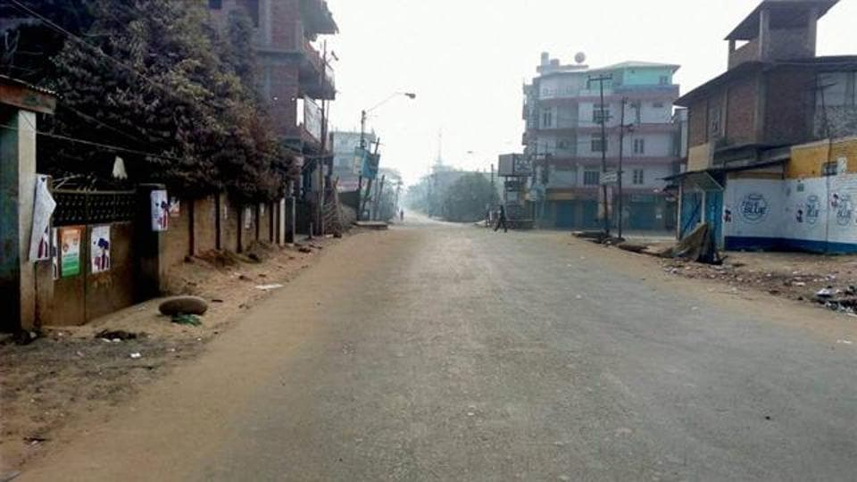 A deserted street during a bandh in Dimapur, considered to be the commercial hub of Nagaland.