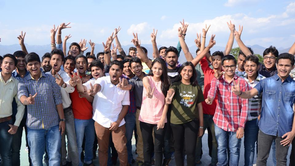 Students celebrating after the JEE Main 2017 results were declared.