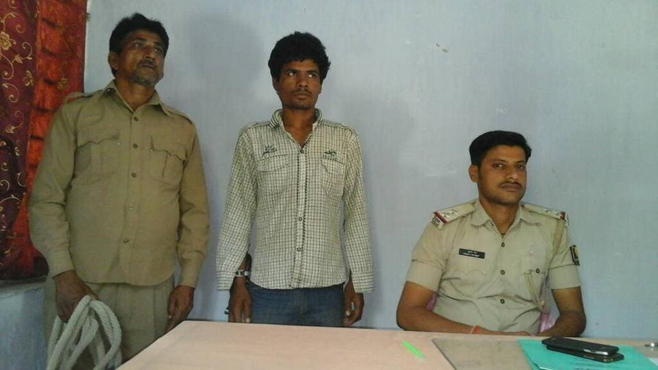 Accused, Radheshyam Bhuyian, who thrashed his seven-year-old daughter to death, in police custody.