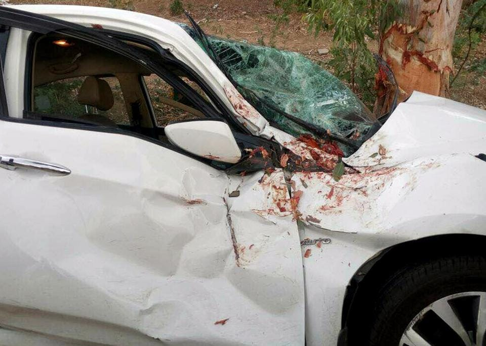 The damaged car in which the girls were travelling near Nahargarh biological park on Wednesday.