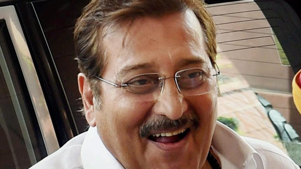 File picture of BJP MP Vinod Khanna at Parliament House in New Delhi. He died on Thursday at a hospital in Mumbai.