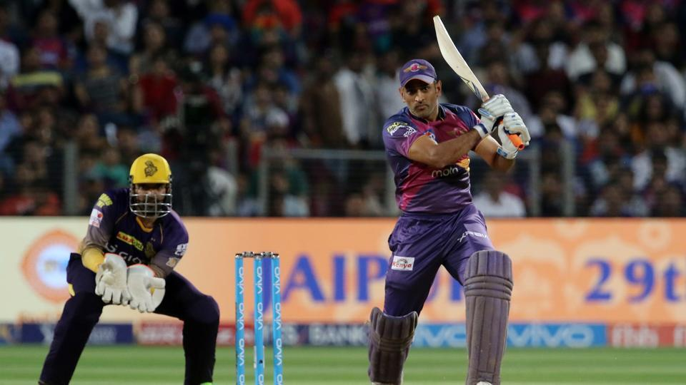 MS Dhoni struck some lusty blows as Kolkata Knight Riders were under pressure in the death overs. (BCCI)