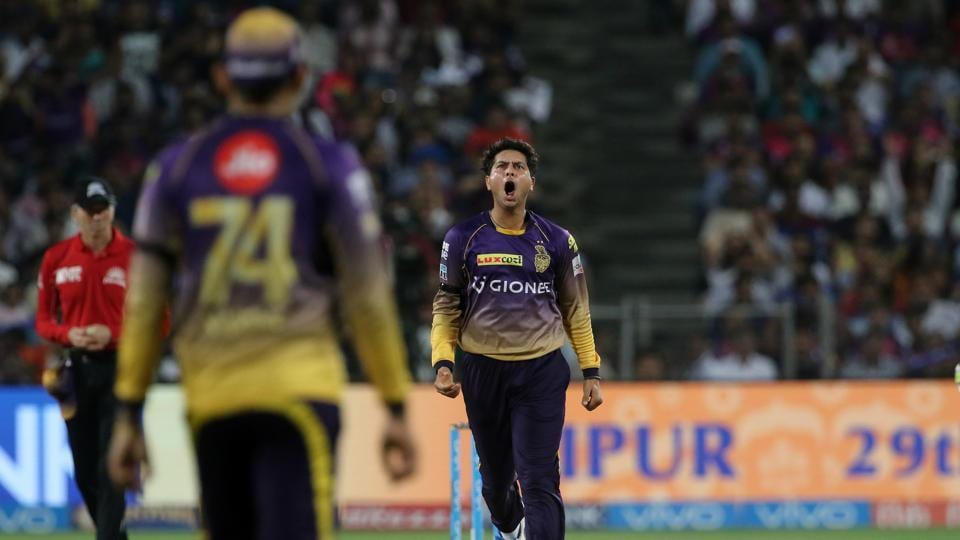 Kuldeep Yadav picked up two wickets in his final over, including Dhoni, to dent RPS' progress. (BCCI)