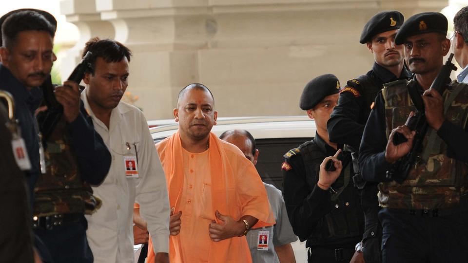 Utter Pradesh chief minister Yogi Adityanath going for Cabinet meeting at Lokbhavan in Lucknow.