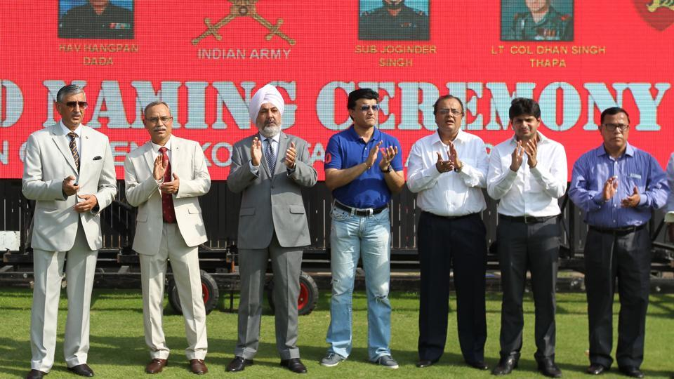 Sourav Ganguly (in blue T-shirt), Cricket Association of Bengal president, and Indian Army officials at stand naming ceremony at the Eden Gardens Stadium in Kolkata.