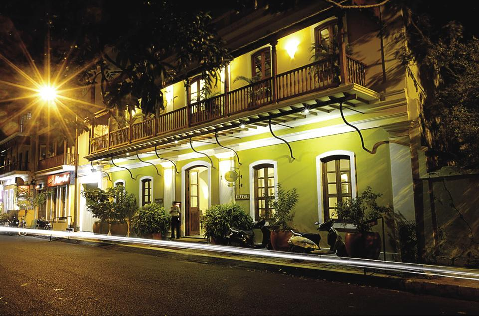 A French colonial architecture- styled building now converted into a hotel on Bussy Street in Puducherry