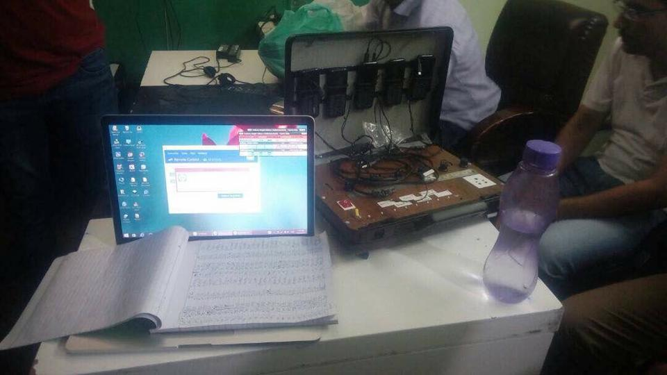The items seized during the raid at a highrise in Noida's Sector 93.