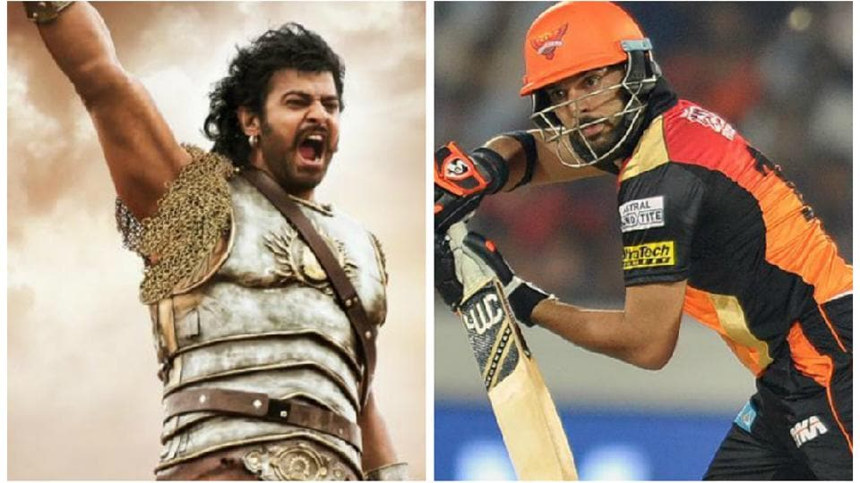 Prabhas in Baahubali and Yuvraj Singh in action during an IPL match.