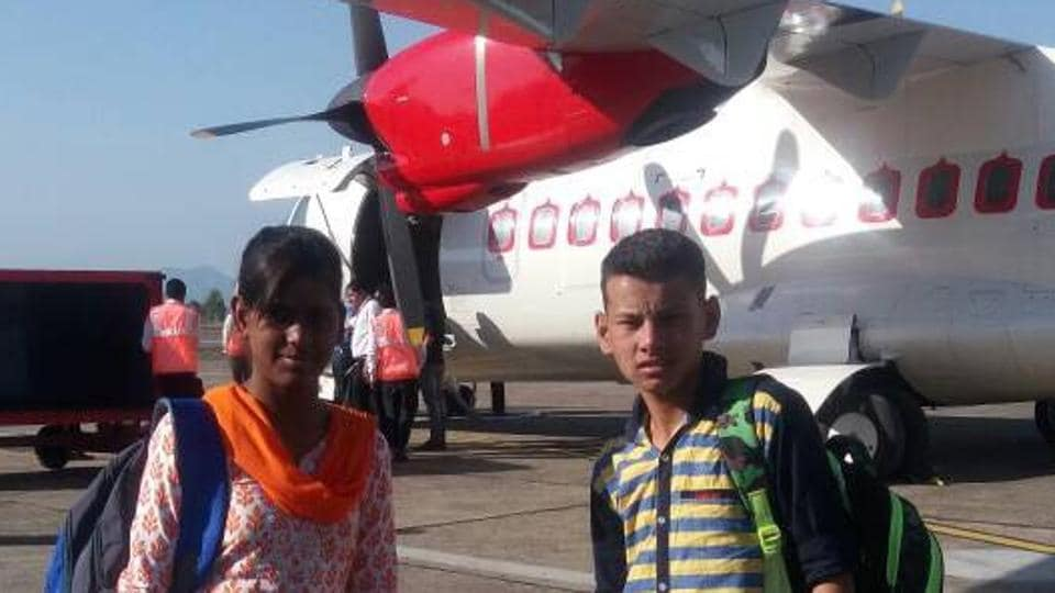 Pooja (15) stays at Bal Ashram, Tutikandi in Shimla, and Shubham (14) at Bal Ashram, Arki in Solan. The selection for the inaugural flight came as a big surprise to them.