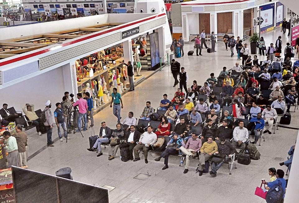 New Delhi, India - March 5, 2015: T-1 Terminal of Departure Lounge in New Delhi, India, on Thursday, March 5, 2015. (Photo by Vipin Kumar/ Hindustan Times)
