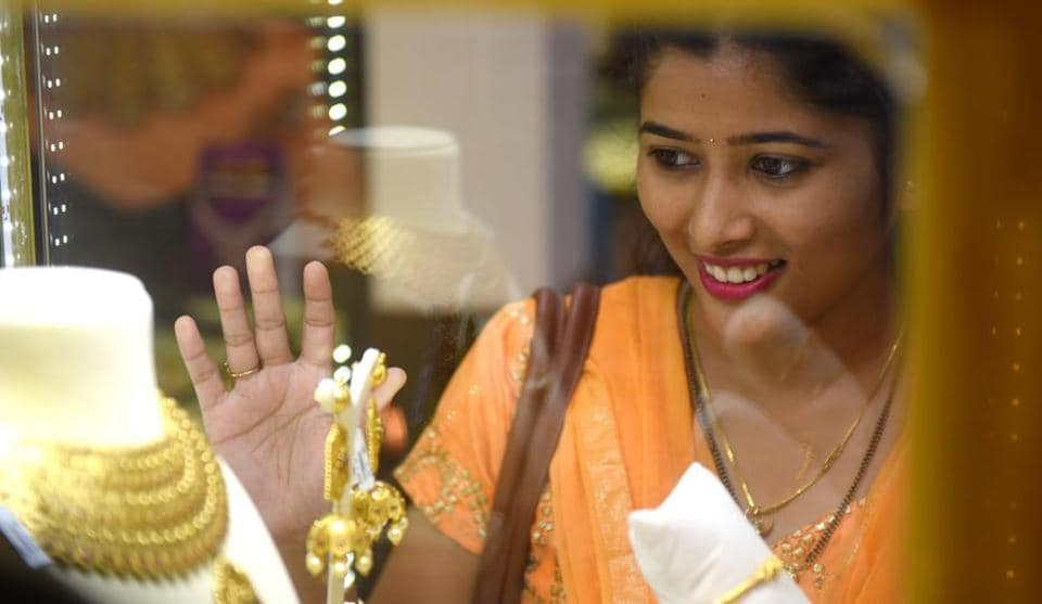 A woman at a jewellery store in Dadar on Friday.