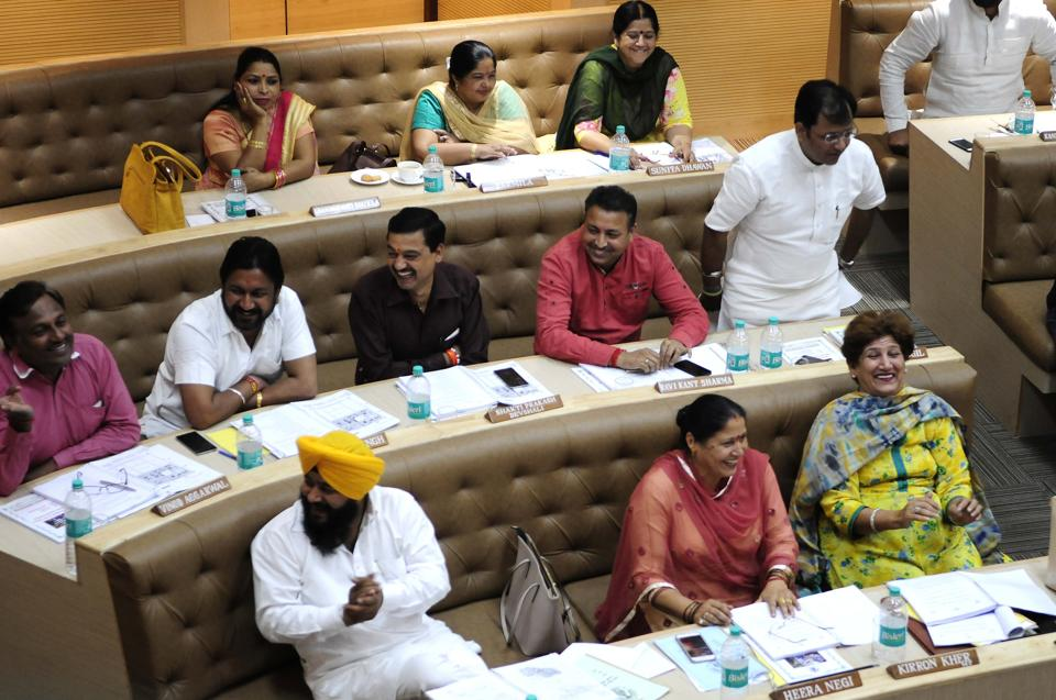 Councillors during municipal corporation House meeting at the MC office in Sector 17,Chandigarh, on Friday.