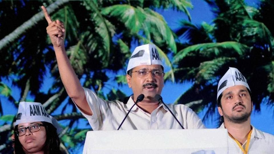 AAP chief Arvind Kejriwal addresses at a public meeting in Goa. The party was roundly beaten in the polls, where it made its maiden electoral foray.