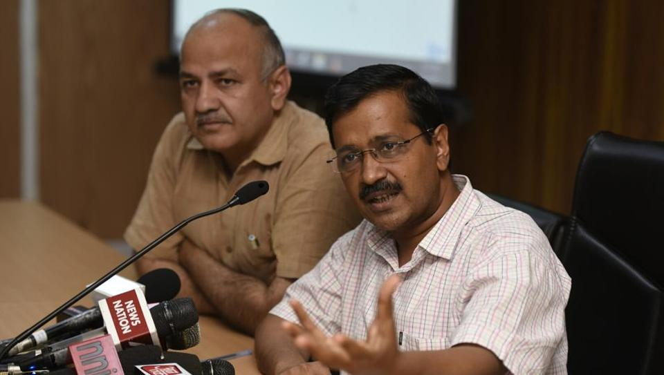 Chief minister of Delhi Arvind Kejriwal (right), with deputy chief minister of Delhi Manish Sisodia at a press conference, New Delhi, India (File Photo)