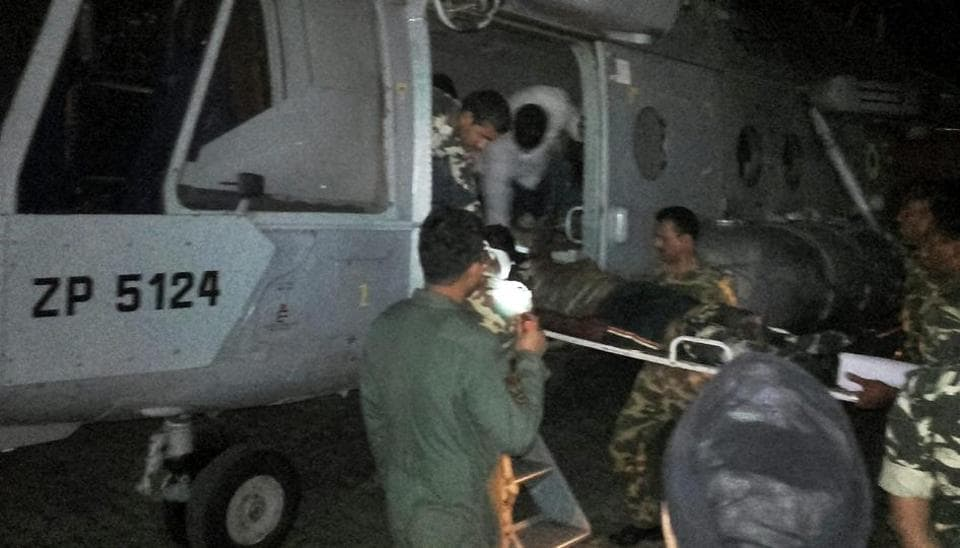 Injured CRPF jawans being airlifted to Raipur by an IAF chopper for treatment following a Maoist attack in Sukma.