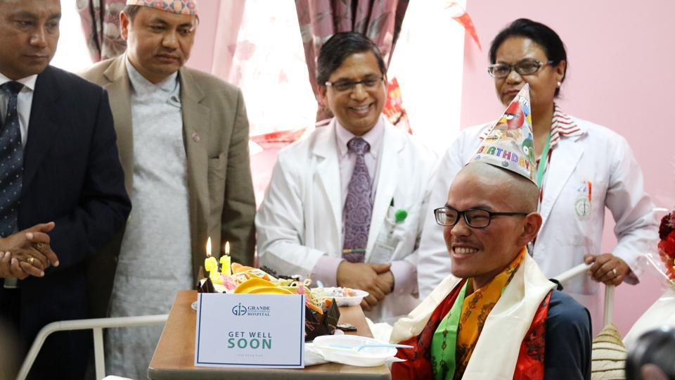 Taiwanese national Liang Sheng-yueh, who was rescued 47 days after he went missing while trekking in the Himalayas, celebrated his 22nd birthday at a hospital in Kathmandu on April 28, 2017.