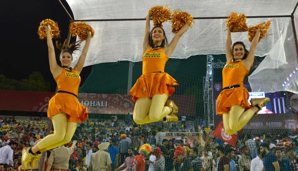 Cheerleaders during the IPL match between Kings XI Punjab and Sunrisers Hyderabad at PCA Stadium in Mohali on Friday night. (Ravi Kumar/HT)