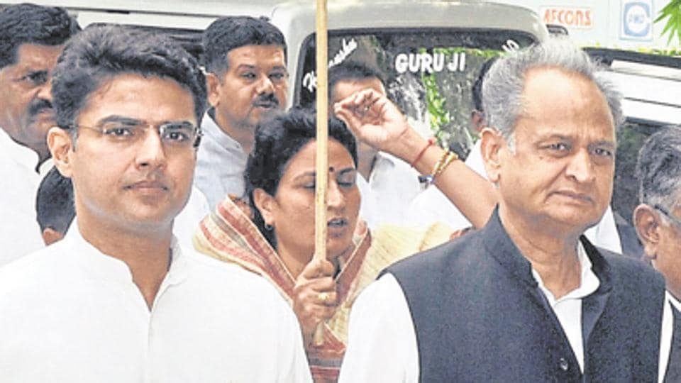 Former Rajasthan chief minister Ashok Gehlot (right)  and party's state chief Sachin Pilot share an uneasy relationship which was evident after the Congress' defeat in the  recent Dholpur bypolls.