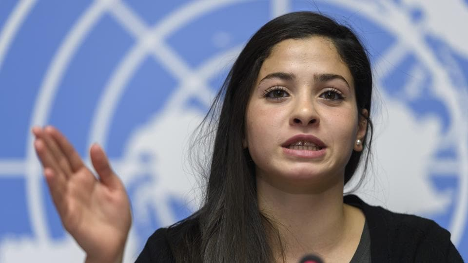 Syrian refugee and Olympic athlete Yusra Mardini, newly appointed UNHCR's Goodwill Ambassador, speaks to the media about her appointment as UNHCR's Goodwill Ambassador, during a press conference, at the European headquarters of the United Nations in Geneva.