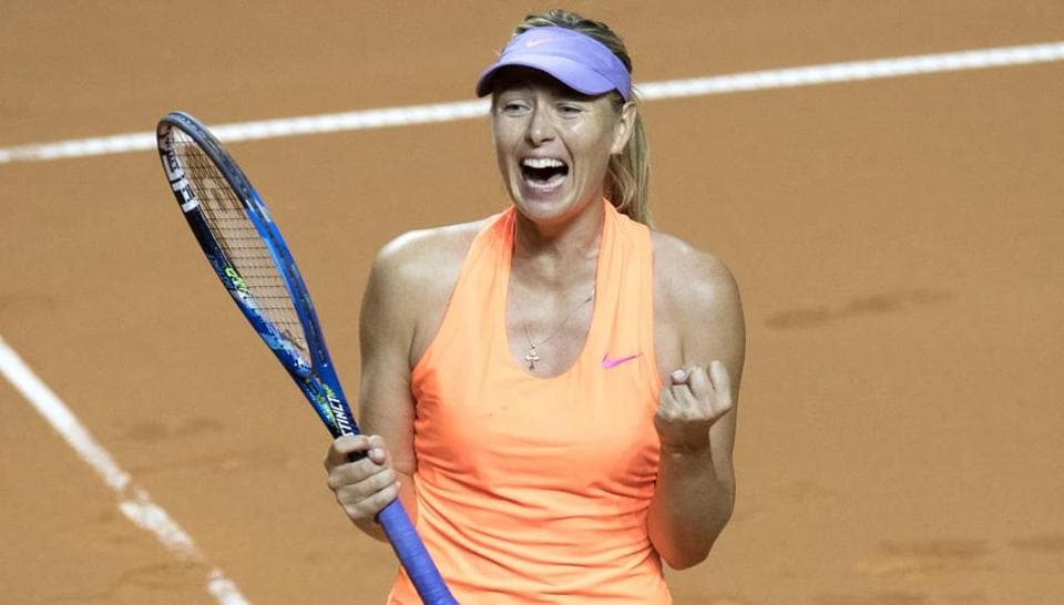 Maria Sharapova celebrates after defeating Anett Kontaveit in the quarterfinal of Stuttgart Open.