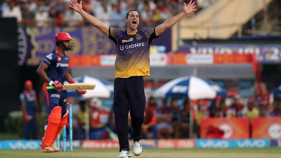 Nathan Coulter-Nile of the Kolkata Knight Riders picked three wickets to peg back Delhi Dardedevils. (BCCI)