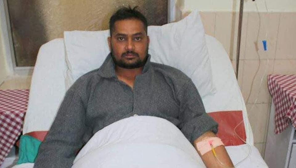 Gunner Rishi Kumar convalescing at a Srinagar hospital.