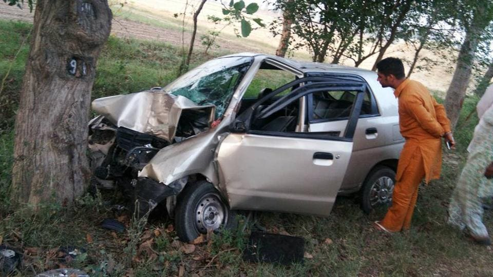The car in which the family was travelling, at the accident spot in Baghapurana.
