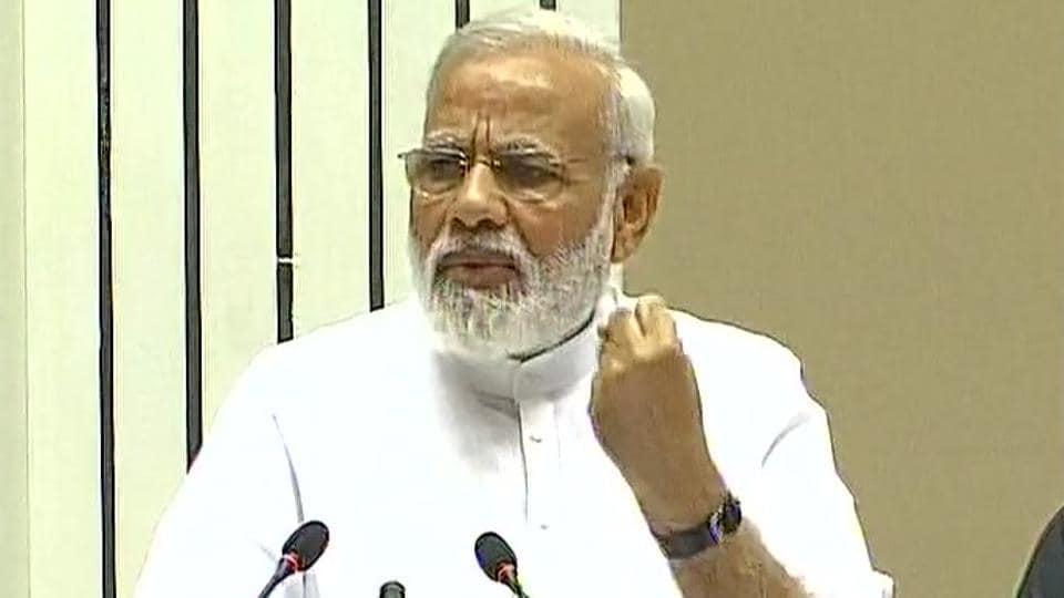 PM Narendra Modi speaks on the occasion of Basava Jayanti at Vigyan Bhavan in New Delhi.