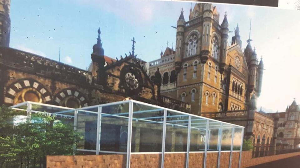 An artist's imagination of the glass canopies at one of the subways of Chhatrapati Shivaji Terminus.
