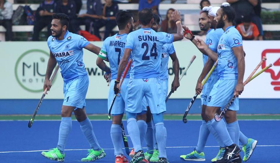 India celebrate the first goal by Akashdeep Singh (19th minute) in the Sultan Azlan Shah Cup hockey tournament at Ipoh, Malaysia. But the joy was short-lived as Great Britain scored the equaliser six minutes later.