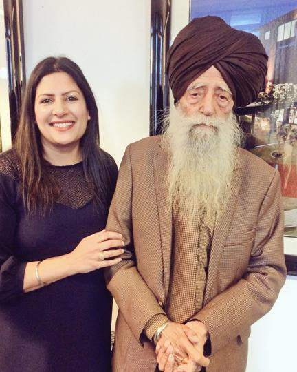 Labour councillor Preet Kaur Gill with British Sikh centenarian marathon runner Fauja Singh in a photo she tweeted on April 8.