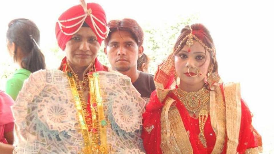 This couple, Manjit Kaur (left) and her reported girlfriend, had a wedding-like ceremony in Punjab on April 22.