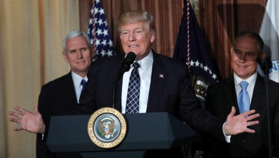 US President Donald Trump speaks during an event in Washington.