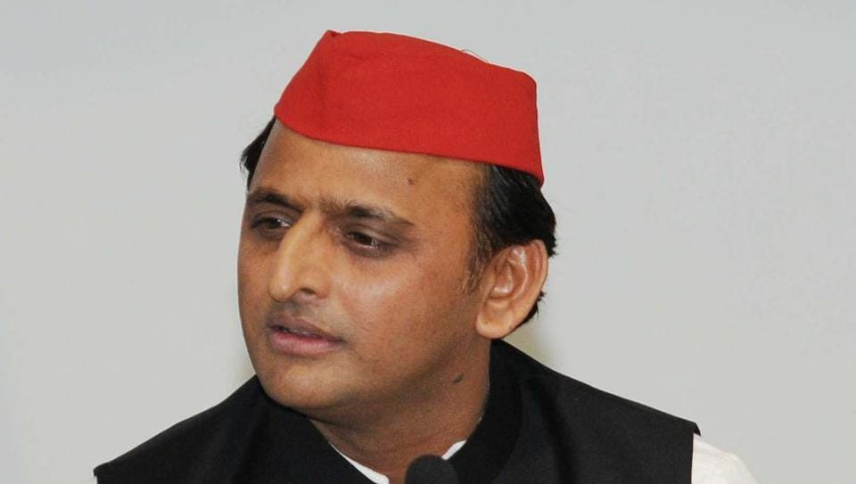 Akhilesh Yadav addresses a press conference at Samajwadi Party office in Lucknow.