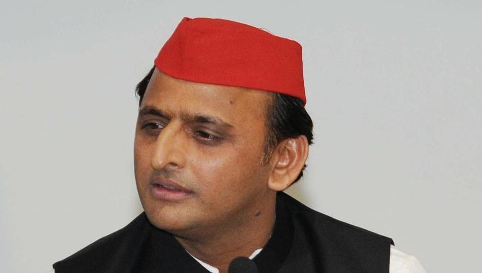 Akhilesh Yadav addresses a press conference at Samajwadi Party office in Lucknow.