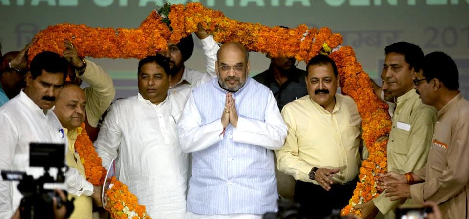 BJP president Amit Shah during the launch of his 95-day nationwide campaign in Jammu on Saturday