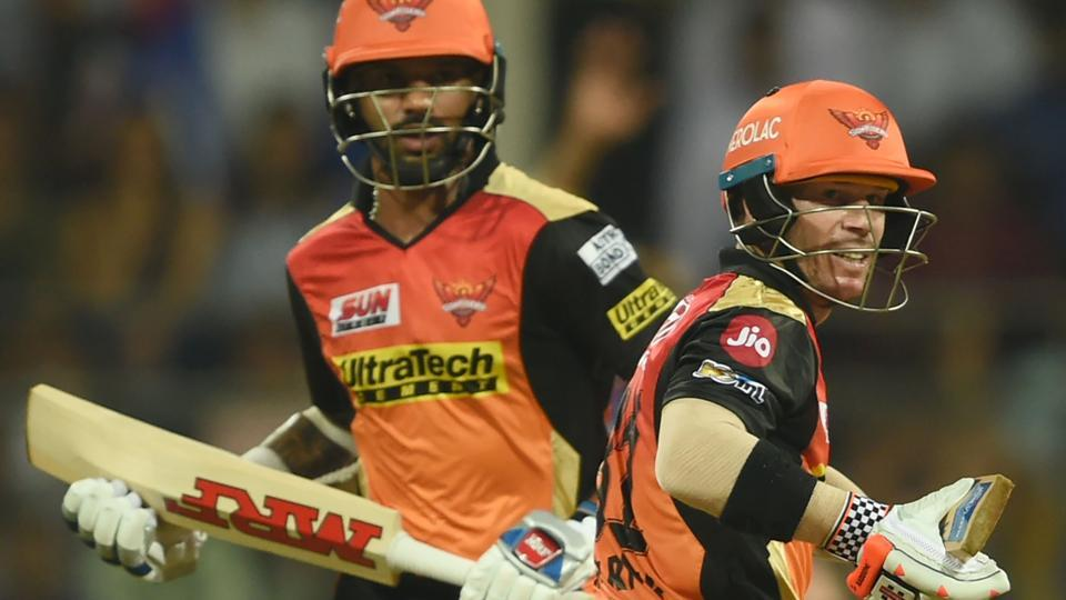 Sunrisers Hyderabad cricketer Shikhar Dhawan (left) and captain David Warner are a formidable opening pair and their partnerships at the start of the innings have been crucial for the team's success in the Indian Premier League (IPL), including the match against Kings XIPunjab in Mohali on Friday.