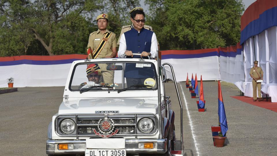 During ceremonial parade Union Minister of State for Home Affairs Kiren Rijiju took the salute of the marching contingents. (Raj K Raj/HT PHOTO)