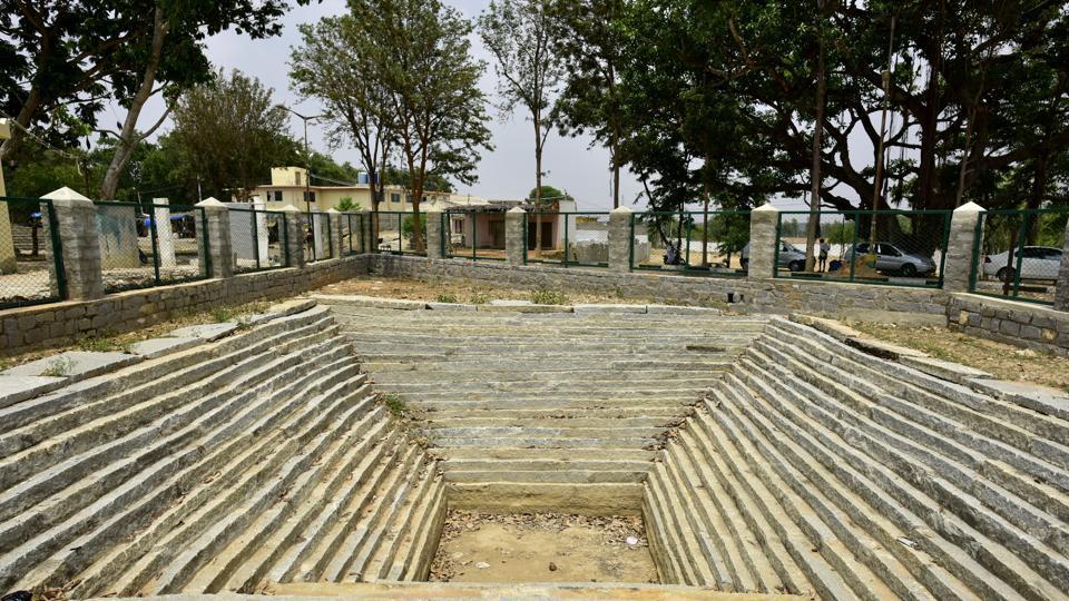 A dried up temple tank at Seeti village of Kolar near Bengaluru.