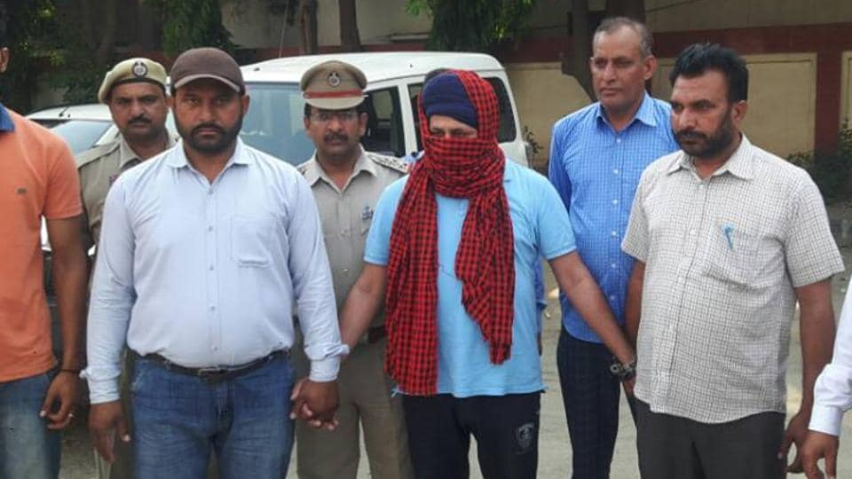 Sulakhan Singh, alias Babbar Sultan, one of the main accused in the Nabha jailbreak. in police custody at SBS Nagar on Saturday, April 29.